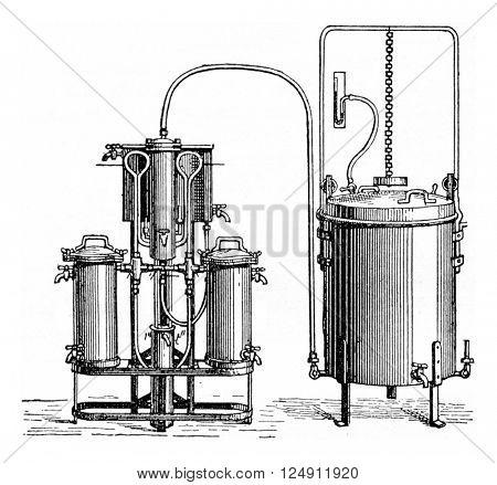 Gasifier, vintage engraved illustration. Industrial encyclopedia E.-O. Lami - 1875.