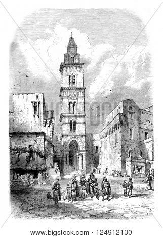 Church of St. Erasmus, in Gaeta, vintage engraved illustration. Magasin Pittoresque 1861.