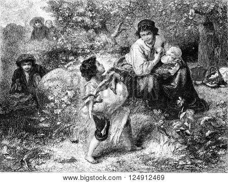 Painting Exhibition of 1857, The foragers, vintage engraved illustration. Magasin Pittoresque 1857.