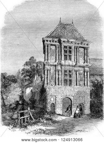 Castle Earl Marshal Saulx Tavannes, the Pailly near Langres, exterior view, vintage engraved illustration. Magasin Pittoresque 1857.