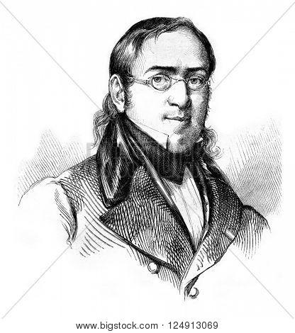 Matthew Bonafous, vintage engraved illustration. Magasin Pittoresque 1857.