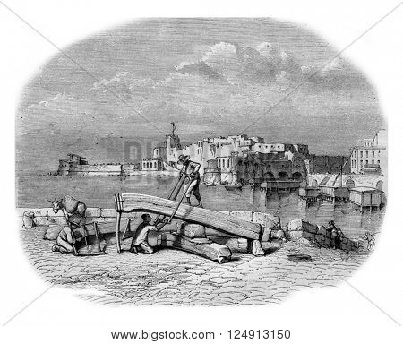 The Castle of the Egg, near Naples, vintage engraved illustration. Magasin Pittoresque 1857.