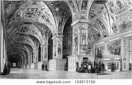View of the Vatican Library in the eighteenth century, vintage engraved illustration. Magasin Pittoresque 1857.