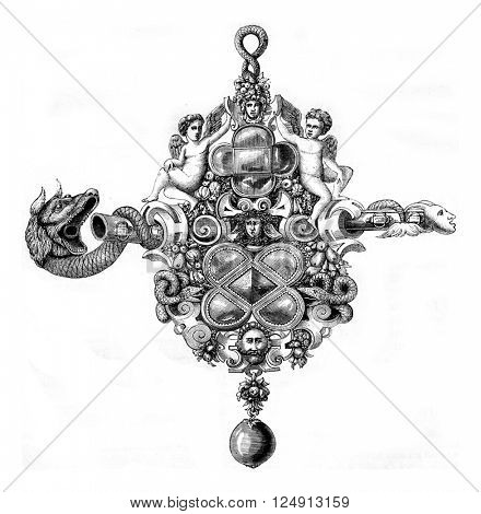 A whistle of the sixteenth century, vintage engraved illustration. Magasin Pittoresque 1857.
