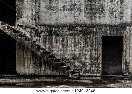 Stair go to hell, Abandoned building ghost living place, darkness horror and halloween background concept