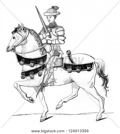Fifteenth century, Captain of regular armed men, vintage engraved illustration. Magasin Pittoresque 1847.