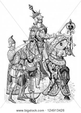 Clovis under the figure of Charles VII in military regalia, vintage engraved illustration. Magasin Pittoresque 1847.