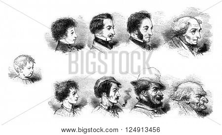 Influence of the morality or immorality of the physiognomy, vintage engraved illustration. Magasin Pittoresque 1847.