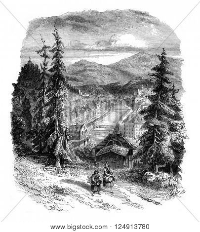 View of Carlsbad and Tele Valley, taken upstream heights of the city, vintage engraved illustration. Magasin Pittoresque 1847.