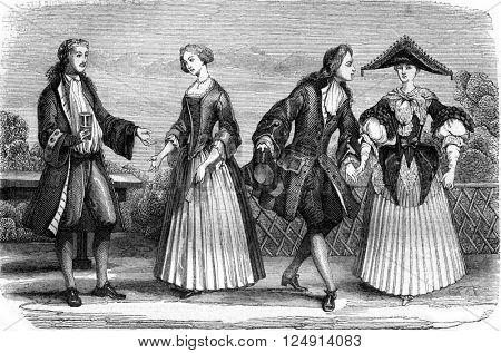 Methods 1709, Daughter of Upper Alsace and Bourgeois, vintage engraved illustration. Magasin Pittoresque 1847.