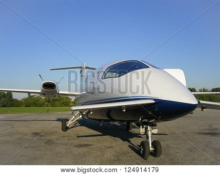 MARKHAM, ONTARIO, CANADA - SZEPTEMBER 22, 2004: A Piaggio Avanti aircraft from an unusual viewpoint on September 22, 2004 at the Buttonville airport (CYKZ). The airport has been closed since then.