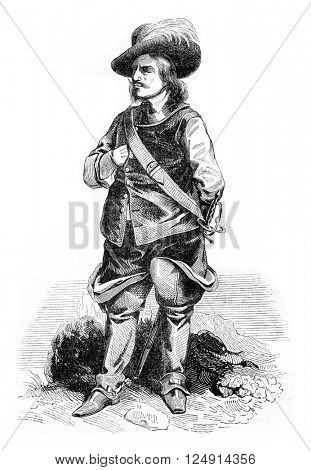 Portrait of Cromwell, vintage engraved illustration. Colorful History of England, 1837.
