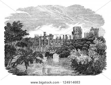 Warwick Castle, vintage engraved illustration. Colorful History of England, 1837.