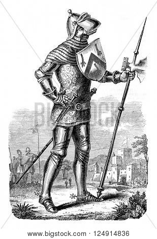 Military costume during the reign of Henry V, vintage engraved illustration. Colorful History of England, 1837.