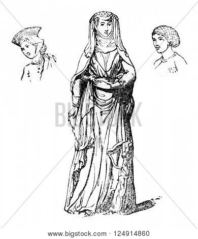 Costume Aveline, Countess of Lancaster, and women's headgear, vintage engraved illustration. Colorful History of England, 1837.
