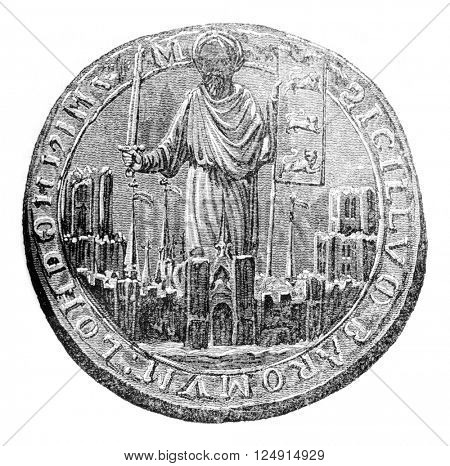Seal of the Barons London, vintage engraved illustration. Colorful History of England, 1837.