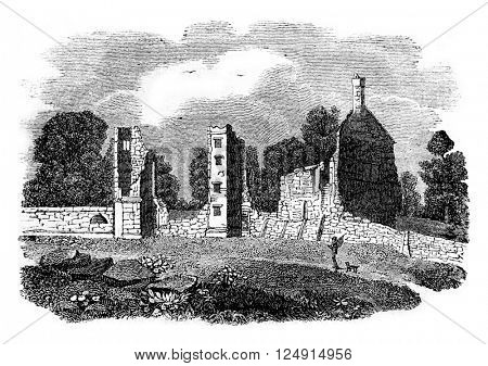Ruins of the castle Broadgate, Earl of Leicester, birthplace of Jeanne Gray, vintage engraved illustration. Colorful History of England, 1837.