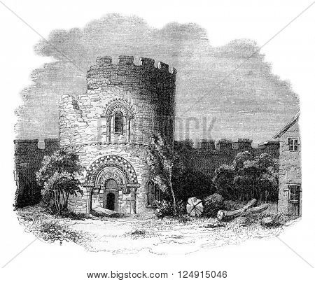 Ludlow castle ruins, Earl of Salop, vintage engraved illustration. Colorful History of England, 1837.