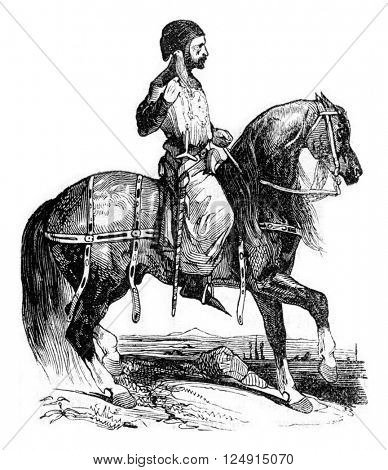 Noble in hunting costume, reign of Henry III, vintage engraved illustration. Colorful History of England, 1837.