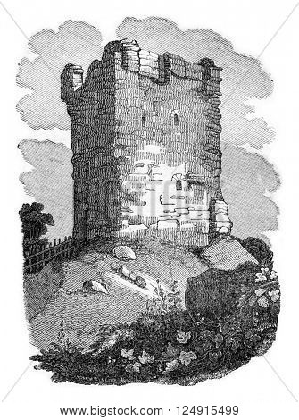 Castle Castleton, Earl of Derby, vintage engraved illustration. Colorful History of England, 1837.