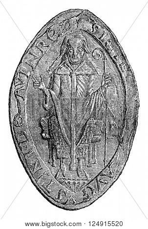 Seal of the abbot of the monastery of St. Augustine, vintage engraved illustration. Colorful History of England, 1837.