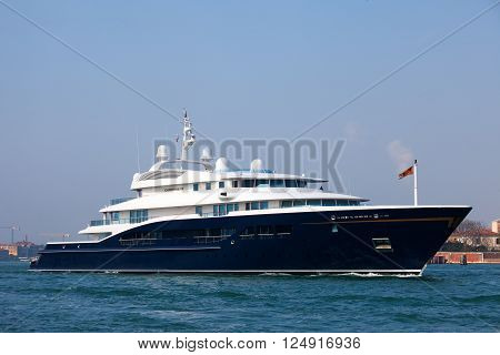 Venice, Italy - March 21, 2016: The Corinthia VII mega yacht. One of the largest motor yachts in the world, it is owned by Heidi Horten, widow of the German entrepreneur Helmut Horten.