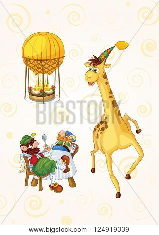 Postcard to the day of birth: greedy dwarves helped the giraffe in its growth to blow out the candles on a birthday cake as a consequence they get a treat
