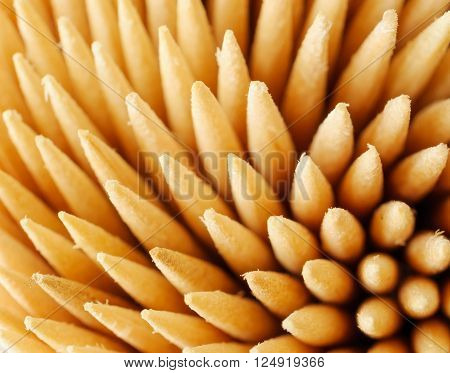 Veer a bunch of wooden toothpicks. Closeup. care product. ** Note: Shallow depth of field