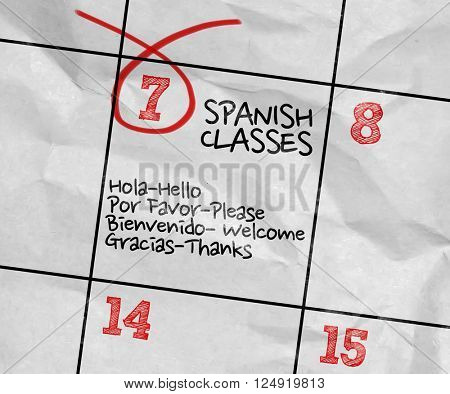 Concept image of a Calendar with the text: Spanish Classes
