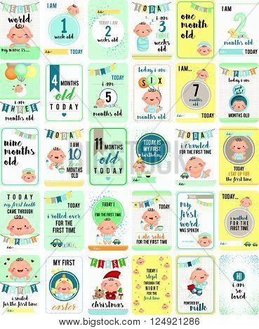 a vector set of cute baby boy milestone cards