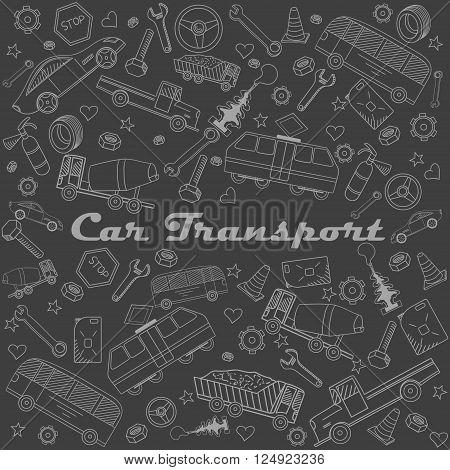 Car transport chalk line art design vector illustration. Separate objects. Hand drawn doodle design elements.