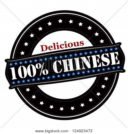 Rubber stamp with text delicious one hundred percent Chinese inside vector illustration