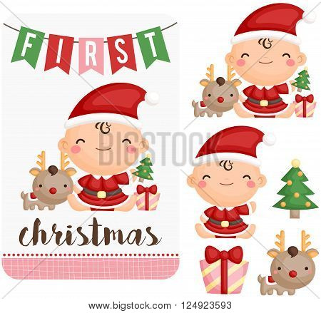 a vector set of baby girl first christmas