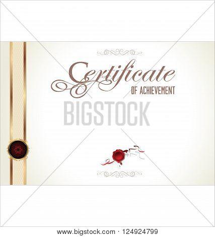 Vector illustration of gold detailed certificate retro design