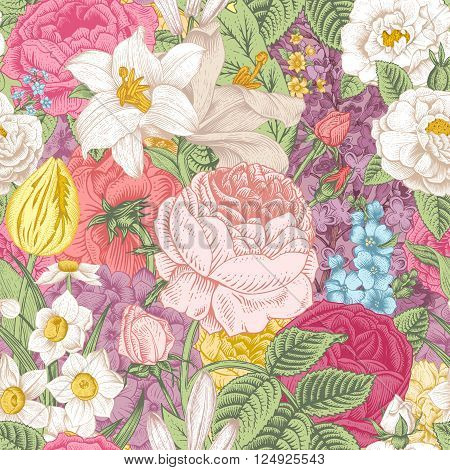 Seamless vector vintage pattern with garden colorful flowers. Roses tulips delphinium lilac daffodil lily.