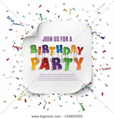 Birthday party poster template with realistic curved banner on celebration background with colorful confetti. Vector illustration.