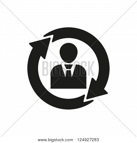 The human resources icon. Management and rotation, partnership, communication symbol. UI. Web. Logo. Sign. Flat design. App. Stock vector