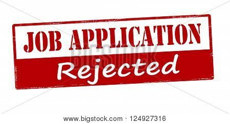 Rubber stamp with text job application rejected inside vector illustration