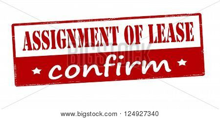 Rubber stamp with text assignment of lease confirm inside vector illustration