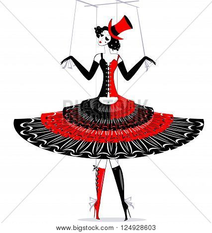 black-red and white fantasy of hand puppet Harlequin