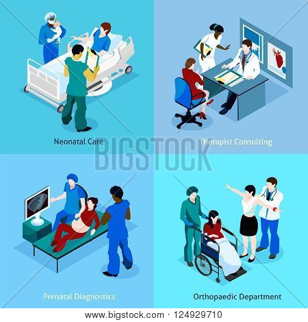 Doctor patient isometric icon set with description of neonatal care therapist consulting prenatal diagnostics and orthopedic department vector illustration