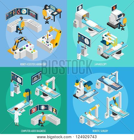 Medical robots 2x2 design concept set of robot assisted laboratory equipment for computer diagnostic laparoscopic operation and robotic surgery isometric vector illustration