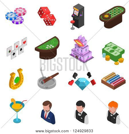 Casino gambling isometric icons set of cards chips dice horseshoe and croupier isolated vector illustration