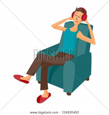 Vector modern flat design man wearing headphones listening music. Cartoon character of music lover enjoying his favorite track. Music lover man listens to music with headphones while sitting in chair