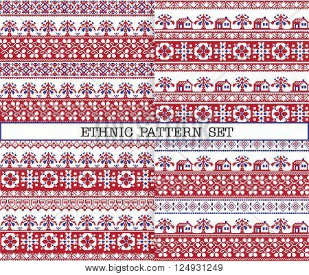 A set of ethnic traditional slav embroidery seamless patterns in red blue and white colours with floral borders trees and houses. poster