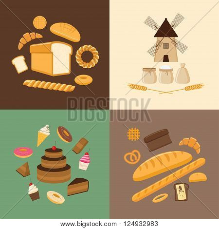 Vector illustration. Flat design style. Set of different kinds of bread sweet pastries and bakery products. Baking bread croissants cupcakes donuts baton cookies buns pretzel cake pies and flour products from bakery or pastry shop