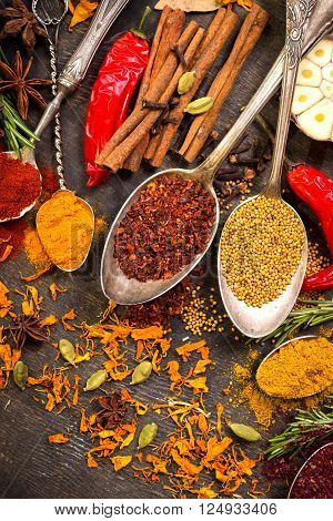 Set Of Various Aromatic Colorful Spices