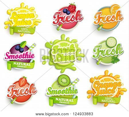 Set of orange, lemon, lime juece, smoothie and fresh labels splash. Lettering, splash and blot design, shape creative vector illustration.