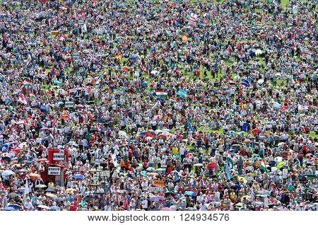 Catholic Pilgrims Gathering During The Pentecost