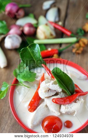 Thai style coconut milk soup with chicken in red cup (Tom Kha Gai )select focus